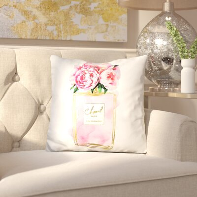 Melia Perfume Flower Peonies Throw Pillow Color: White/Blue