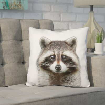 Kelsch Raccoon Throw Pillow Color: Brown