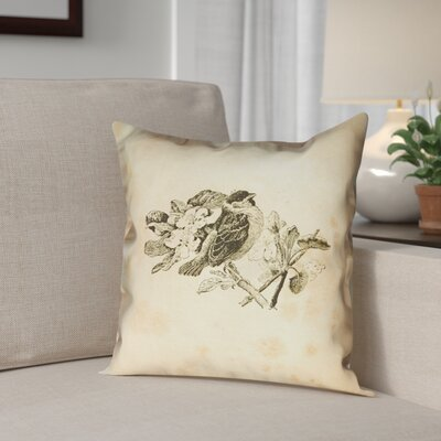 Venezia Vintage Bird Outdoor Throw Pillow Size: 20