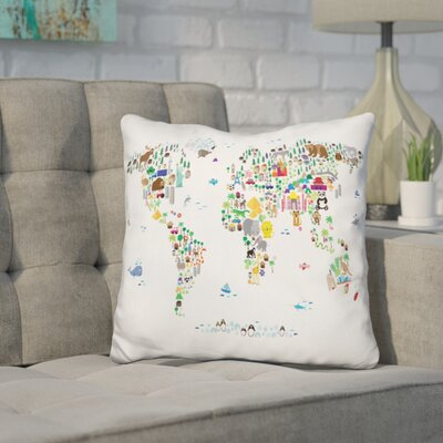 Corlew World Map Childrens Animal Throw Pillow
