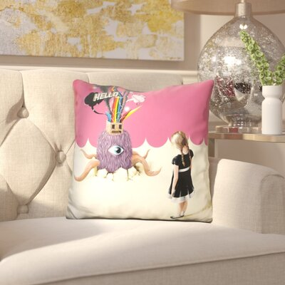 Carlie Hello Ruby Throw Pillow