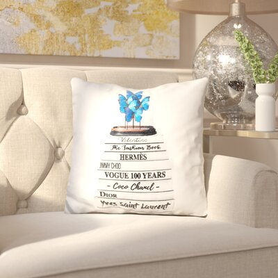 Jara Book Stack Dome Butterflies Throw Pillow