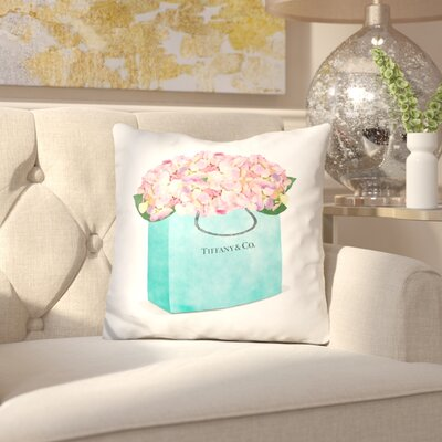 Jacobson Tiffany Shopper Hydrangea Throw Pillow
