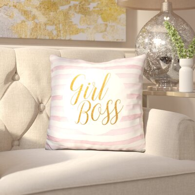 Jessenia Girl Boss on Stripe Rose Throw Pillow Color: Yellow/Pink