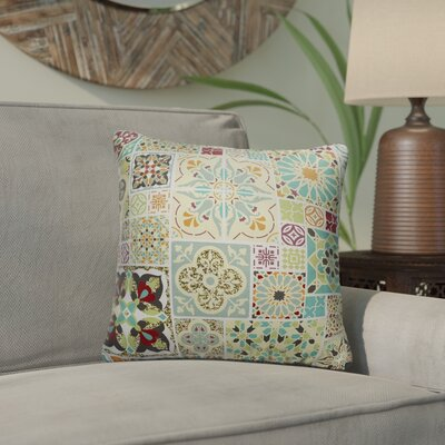 Creamer Tile Indoor/Outdoor Throw Pillow Color: Green, Size: 18 H x 18 W