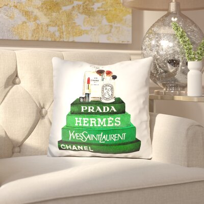 Jansen Book Stack with Make Up Throw Pillow