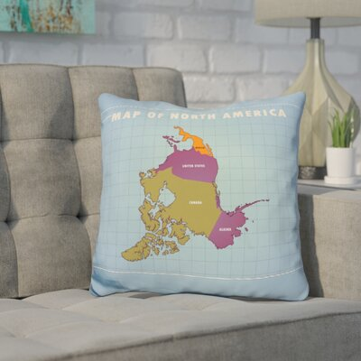 Kamm Upside Down North America Throw Pillow