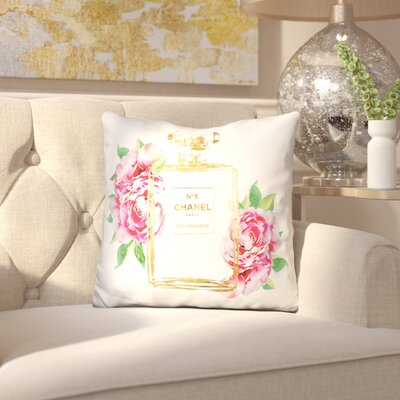 Melia Perfume Outline with Peonies Throw Pillow