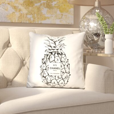 Jaheim Pineapple Throw Pillow Color: Black/White