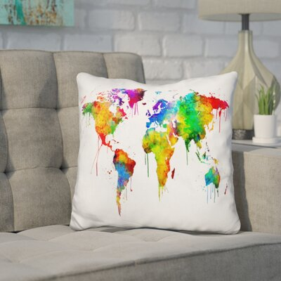 Corlew World Map Color Throw Pillow