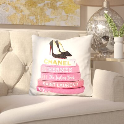Jahn Stilettos Fashion Books Throw Pillow Color: Pink