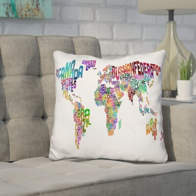 Harnish World Text Map Throw Pillow Color: Purple