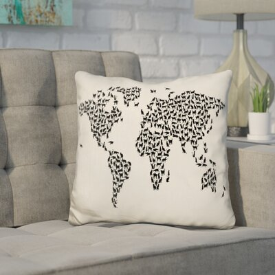 Corlew World Map Cats Throw Pillow Color: Cream/Black