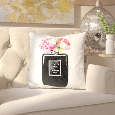 Jarosz Coco Noir with Peony Flowers Throw Pillow