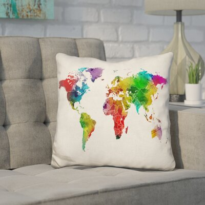Corlew World Map Watercolor Borders Throw Pillow