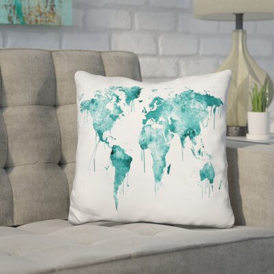Corlew World Map Throw Pillow Color: Teal
