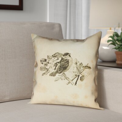 Venezia Vintage Bird Outdoor Throw Pillow Size: 18 x 18