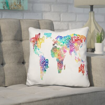 Harnish World Text Map Throw Pillow Color: Teal