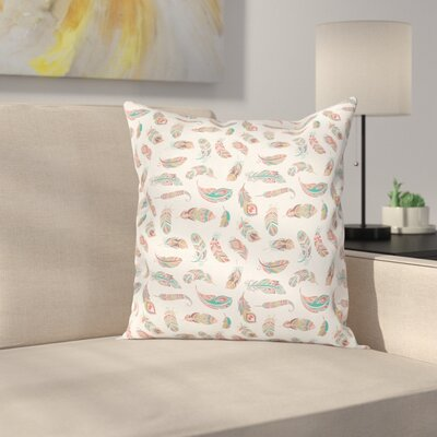 Indian Ethnic Feathers Square Cushion Pillow Cover Size: 16 x 16