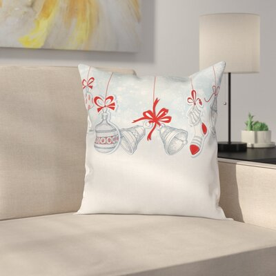 Christmas Retro Decorations Square Pillow Cover Size: 18 x 18