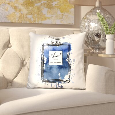 Melia Perfume Bottle Throw Pillow Color: Inky Navy