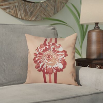 Willa Flower Child 2 Throw Pillow Size: 26 H x 26 W, Color: Coral