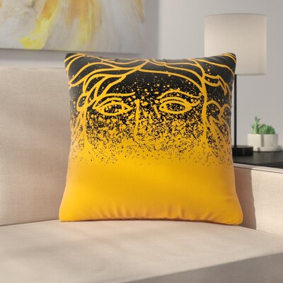 Throw Pillow Size: 26 H x 26 W x 7 D, Color: Black / Gold