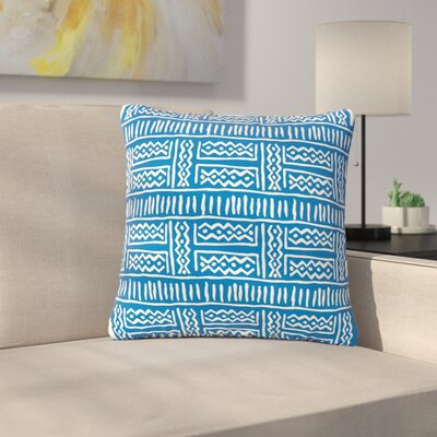 Dan Sekanwagi Lines and Zigzags Tribal Outdoor Throw Pillow Color: Blue, Size: 18 H x 18 W x 5 D