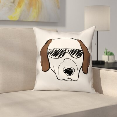 Dog with Sunglasses Throw Pillow in , Throw Pillow Size: 20 x 20