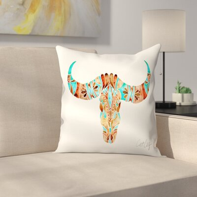 Water Buffalo Skull Throw Pillow Color: Turquoise/Brown, Size: 14 x 14