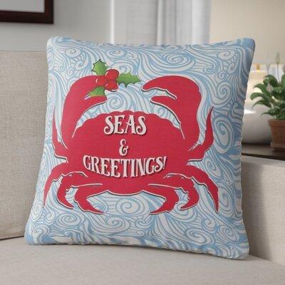 Seas & Greetings Crab Christmas Throw Pillow