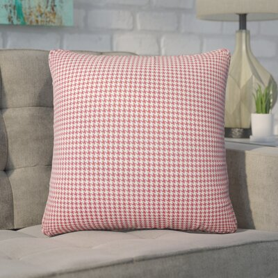 Wofford Houndstooth Cotton Throw Pillow Color: Red