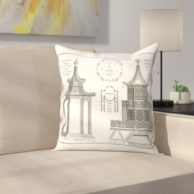 Plan Pavillionchinois Throw Pillow Size: 20 x 20