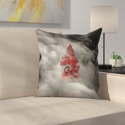 Watercolor Gothic Clocktower Square Pillow Cover Size: 26 x 26