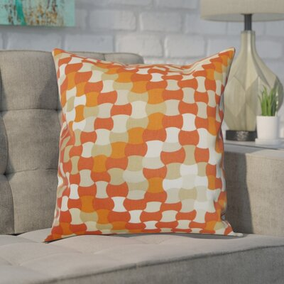 Hubbs Cotton Throw Pillow Color: Tangerine, Size: 18x18