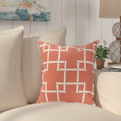 Connelly Bamboo Geometric Outdoor Throw Pillow Size: 16 H x 16 W, Color: Coral