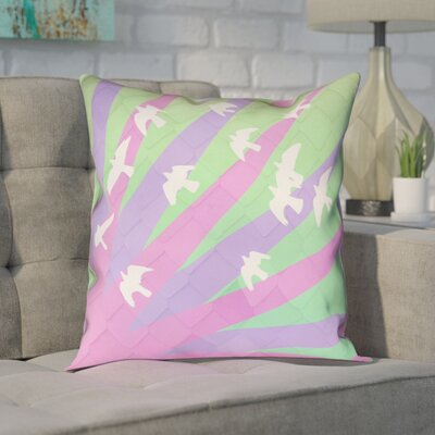 Enciso Birds and Sun Square Pillow Cover Color: Purple/Green, Size: 16 H x 16 W