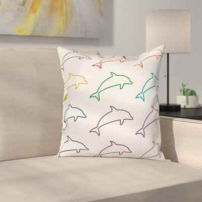 Abstract Art Jumping Dolphins Square Pillow Cover Size: 18 x 18