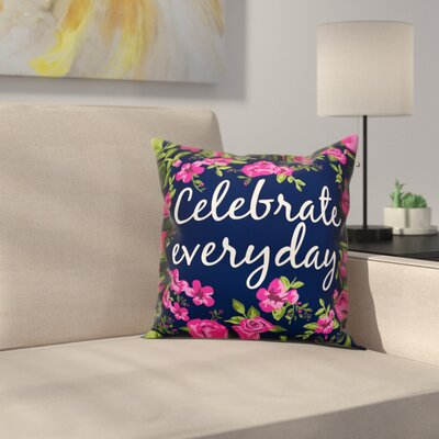 Tilton Celebrate Everyday Floral Throw Pillow Color: Navy, Size: 16 x 16, Type: Pillow Cover