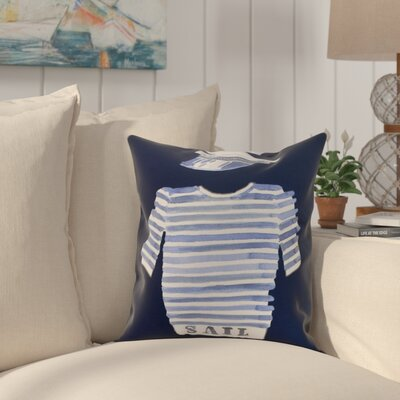 Crider Captain Shirt Print Indoor/Outdoor Throw Pillow Color: Navy, Size: 20 x 20
