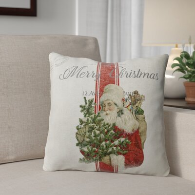 Santa Outdoor Throw Pillow Size: 18 x 18, Color: Ivory/ Red/ Green