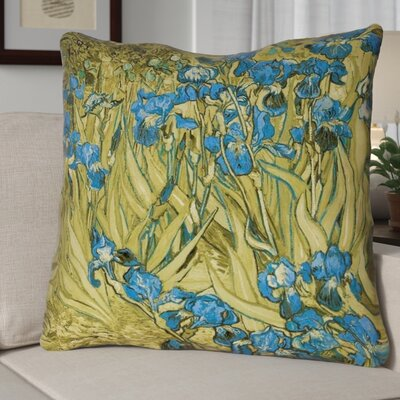 Bristol Woods Irises 100% Cotton Twill Pillow Cover Color: Yellow/Blue, Size: 26 x 26