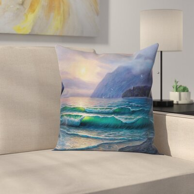 Ocean Morning Mountain Square Pillow Cover Size: 18 x 18