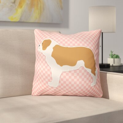 Saint Bernard Indoor/Outdoor Throw Pillow Size: 14 H x 14 W x 3 D, Color: Pink