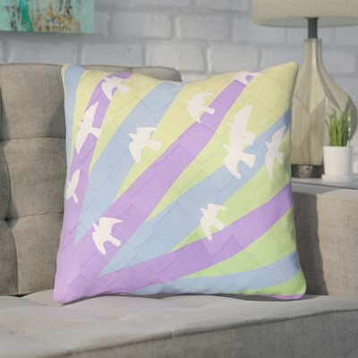 Enciso Birds and Sun Square Throw Pillow Color: Purple/Blue/Yellow, Size: 14 H x 14 W