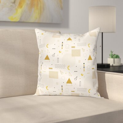 Memphis Geometric Artsy Square Cushion Pillow Cover Size: 16 x 16