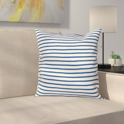 Stripe Hand Drawn Sea Square Cushion Pillow Cover Size: 16 x 16