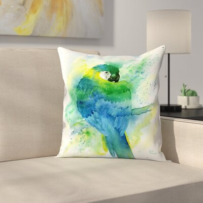 Blue Macaw Throw Pillow Size: 16 x 16