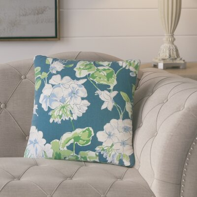 Bethzy Floral Cotton Throw Pillow Color: Lagoon