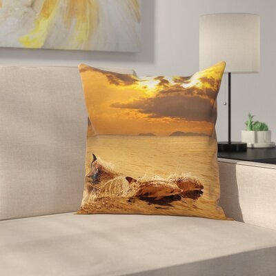 Animal Print Dolphins Dusk Square Pillow Cover Size: 16 x 16